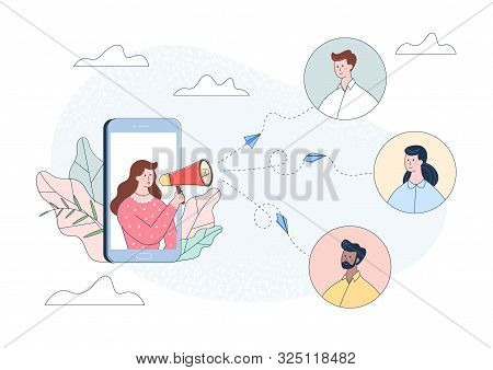 Woman Character In Smartphone Shouting People In Loudspeaker. Influence Advertising Promotion Concep