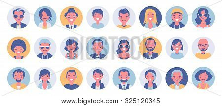 People Avatar Big Bundle Set. User Pic, Different Human Face Icons For Representing Person In A Vide