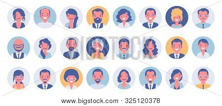 Business People Avatar Big Bundle Set. Businessmen And Businesswomen Face Icons, Character Pic To Re