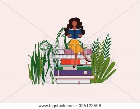 Time To Studying. Girl Reading A Book. Science Concept With Book Icons..flat Design Modern Vector Il