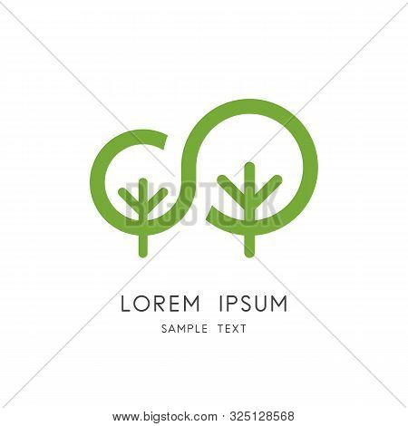 Tree Family Logo - Big Plant And Small Sapling Symbol. New Life In Nature, Mother And Child Unity Ve
