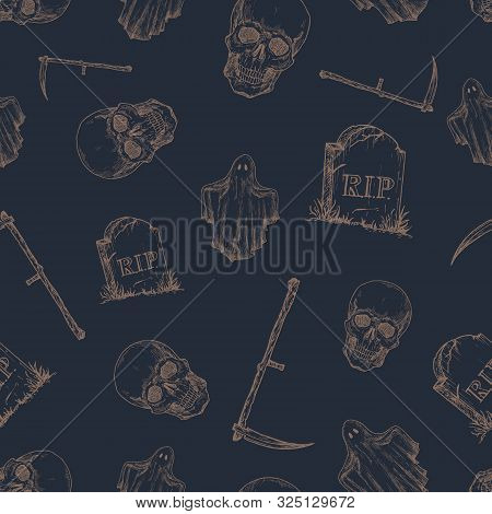 Hand Drawn Scull, Tomb Stone, Scythe And Ghost Vector Seamless Background Pattern. Halloween Celebra