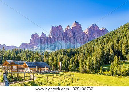 Santa Maddalena,italy - September 4,2019 - View At The Sass Rigais And Furchetta Mountains From Sant