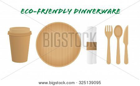 Sustainable Home Goods And Eco-friendly Dinnerware. Bamboo Spoons, Fork, Knives, Plate With Paper Cu