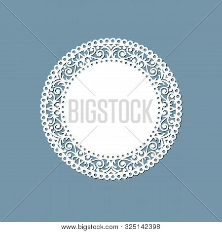 Lasercut Lace Doily Design Round Pattern Ornament Template Mockup Of A Round White Lace Doily Napkin