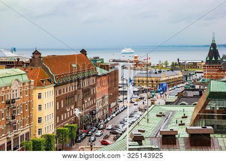 Helsingborg, Sweden - May, 2019: View Of The City Centre And The Port Of Helsingborg In Sweden.