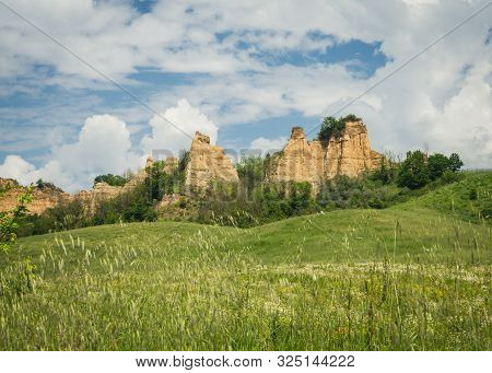 View Of Le Balze Canyon Landscape In Valdarno, Italy
