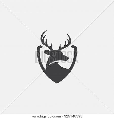 Deer And Shield Logo Design Template. Deer Head Logo Icon, Deer Shield Icon Design Illustrtion, Impa