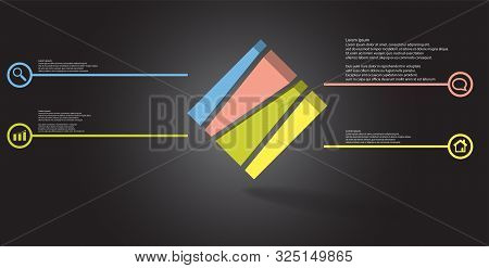 3D Illustration Infographic Template With Embossed Cube Askew Arranged And Vertically Divided To Fou