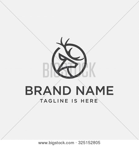 Unique Deer Circular Logo Design Icon, Deer Head Circular Icon, Geometric Deer Logo Concept, Rain De