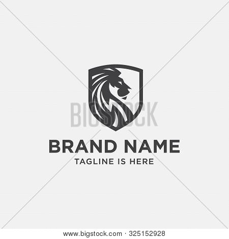 Lion Shield Luxury Logo Icon, Elegant Lion Shield Logo Design Illustration, Lion Head, Lion Shield S