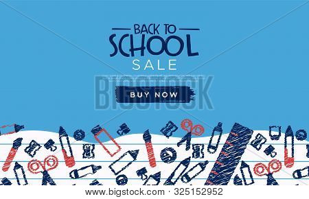 Back To School Sale Template Banner Of Children Class Doodles For Business Promotion Event. Fun High