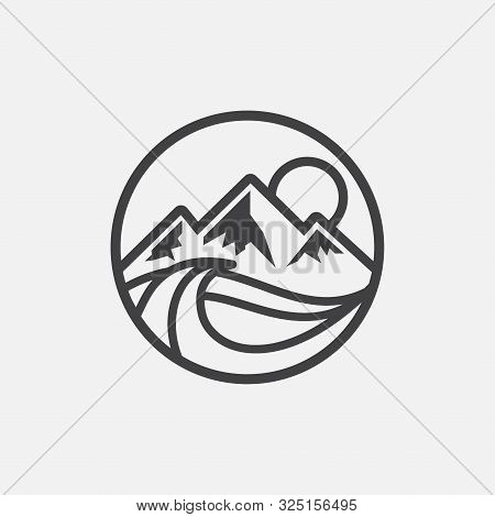 Lake Circular Logo Icon, Lake Life Illustratation, Lake Linear Icon Design, Mountain Icon, Water Ico