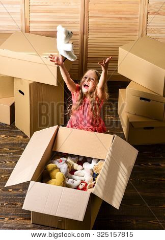 Happy Childhood. Relocating Family Stressful For Kids. Box Package And Storage. Small Child Prepare