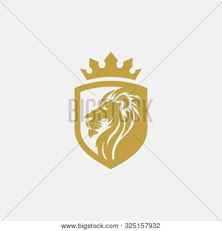 Lion Shield Luxury Logo Icon, Elegant Lion Shield Logo Design Illustration, Lion Head With Crown Log