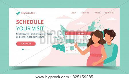 Medical Appointment Pregnancy. Couple Scheduling An Appointment With Calendar. Landing Page Template