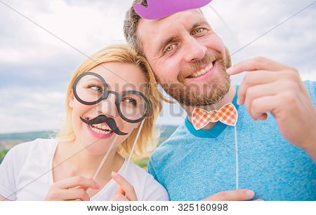 Couple Posing With Party Props Sky Background. Photo Booth Props. Man With Beard And Woman Having Fu