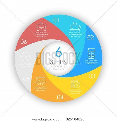 Vector Circle Infographic Template With 6 Options For Presentations Or Layouts. Business Concept Rou