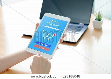 Woman Shopping Online At Home, Business And Modern Lifestyle Concept