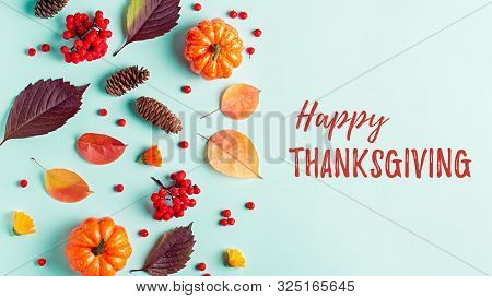 Happy Thanksgiving Greeting Card With Leaves, Pumpkins, Rowan Berries On Mint Background. Fall, Than
