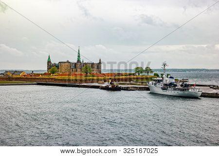 Waterfront View Of Kronborg Castle In Elsinore, Denmark.