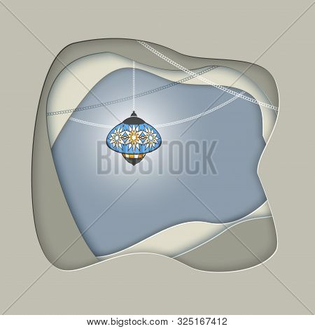 Elegant Ramadan Kareem Lantern Or Fanous In Paper Cut Background For Islamic Holiday. Concept For Ce