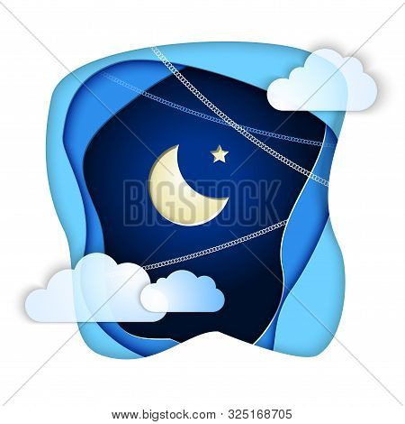 Islamic Crescent And Star In Paper Cut Night Sky Clouds For Holiday Ramadan Kareem. Concept For Cele