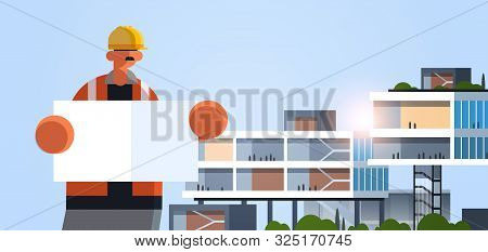 male builder architect holding blueprint workman engineer with empty placard board industrial worker in uniform building concept modern office exterior flat portrait horizontal poster