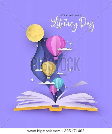 International Literacy Day Greeting Card Illustration Of Open Book With Cute Paper Hot Air Balloons