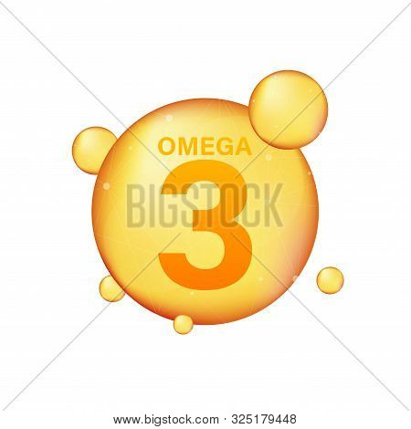 Omega 3 Gold Icon. Vitamin Drop Pill Capsule. Shining Golden Essence Droplet. Vector Illustration.