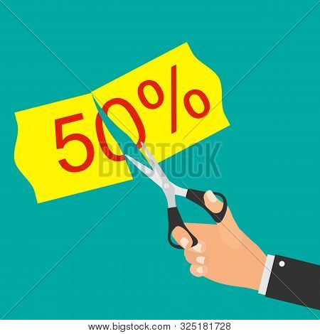 Cut Prices Sale And Discounts Design.  Illustration
