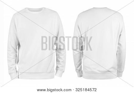 Men White Blank Sweatshirt Template,from Two Sides, Natural Shape On Invisible Mannequin, For Your D