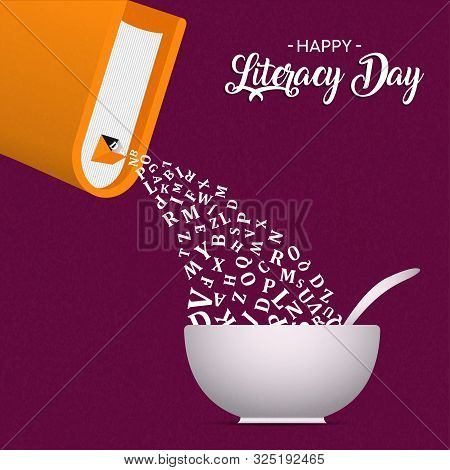 International Literacy Day Greeting Card Illustration Of Book With Alphabet Letters As Cereal Or Foo