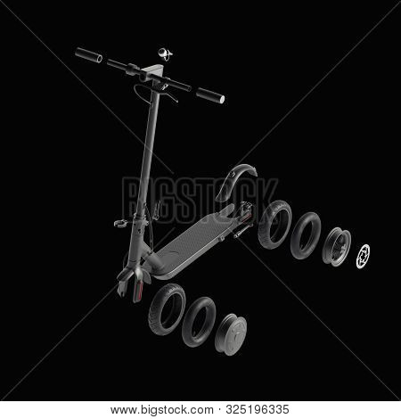 Details Of Electric Scooter Isolated On Black Background. Eco Alternative Transport Concept. 3d Rend