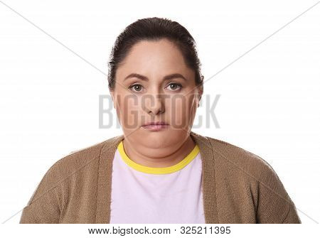 Woman With Double Chin On White Background