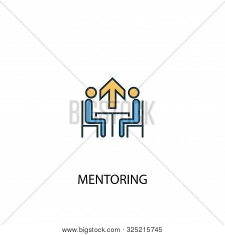 Mentoring Concept 2 Colored Line Icon. Simple Yellow And Blue Element Illustration. Mentoring Concep