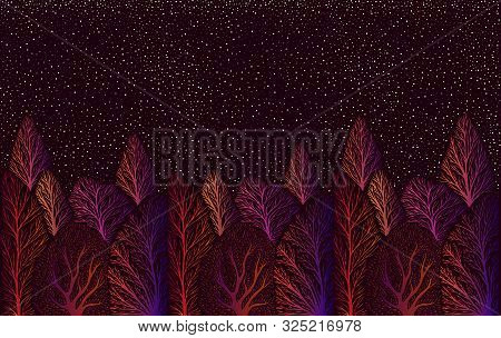 Psychedelic Surreal Colorful Landscape With Forest And Night Stars Sky, Trees Bright Orange Pink Pur