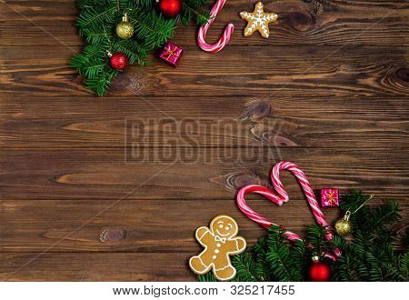Bright Christmas Or New Year Wooden Background With Fir Branches, Christmas Decorations, Christmas G