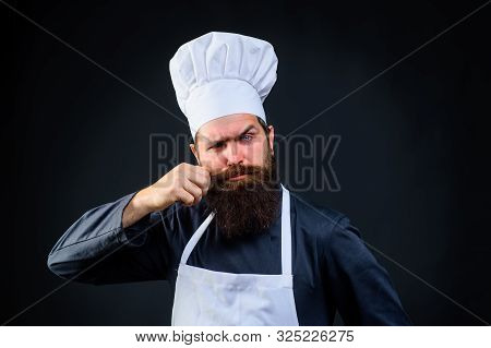 Bearded Man. Male Cook In Chef Hat. Bearded Man Chef In Uniform. Chef, Cook Or Baker Man. Profession