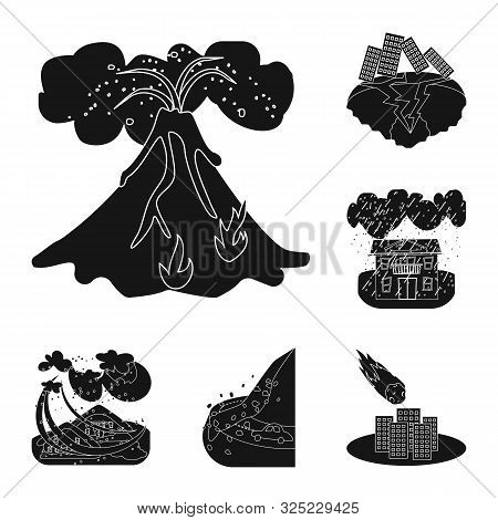 Vector Design Of Calamity And Crash Symbol. Set Of Calamity And Disaster Stock Vector Illustration.