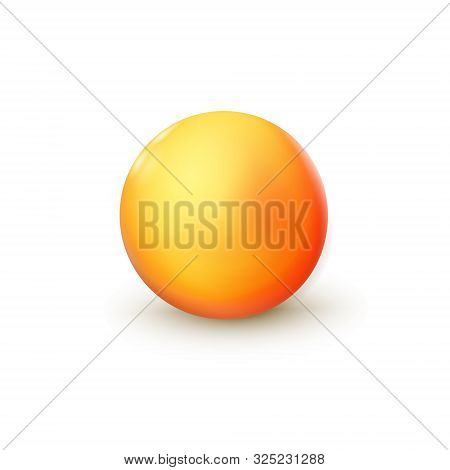 Sphere, Orange Ball. Mock Up Of Clean Round The Realistic Object, Orb Icon. Design Decoration Round