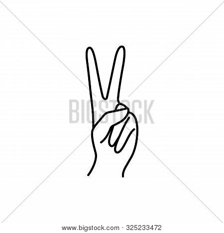 Womans Hand With Two Finger Pointing Up Icon Line. Vector Illustration Of Female Hands Of Victory, P