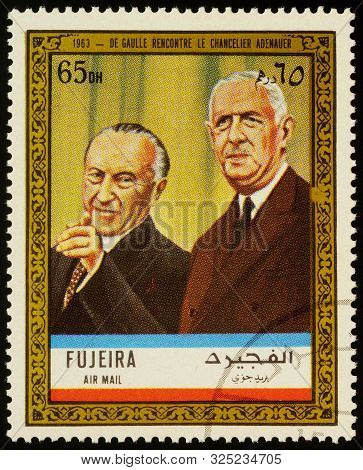 Moscow, Russia - September 26, 2019: A Stamp Printed In Fujeira Shows President De Gaulle Meets Chan