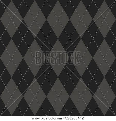 Halloween Argyle Plaid. Scottish Pattern In Black And Grey  Rhombuses. Scottish Cage. Traditional Sc