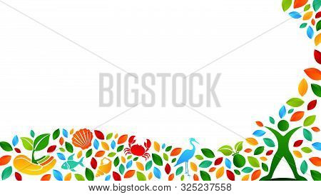 Ecosystem Concept Composed Of Silhouette Of Person With Open Arms, Heron, Crab, Fish, Shell, Hand Wi