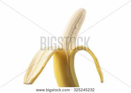 Half Peeled Banana Isolated On White Background. Ripe Open Banana Isolated. Banana Fruit Isolated On