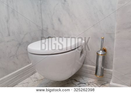 Hanging On Wall White Toilet Bowl, Grey Natural Marble
