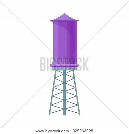 Bright Violet Reservoir For Storage Water Vector Illustration