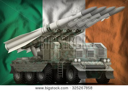 Tactical Short Range Ballistic Missile With Arctic Camouflage On The Ireland Flag Background. 3d Ill