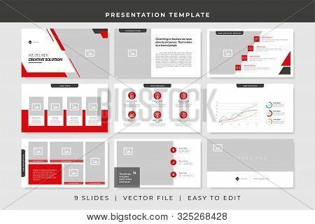 9 Slides Business Powerpoint Presentation Template. Presentation Vector Design Template.